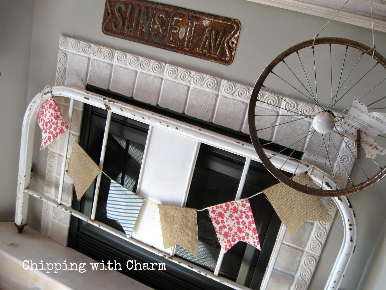Chipping with Charm:  Spring Mantel, headboard fireplace cover...www.chippingwithcharm.blogspot.com