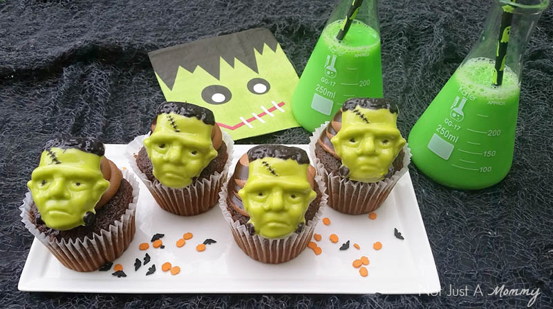 Candy Frankenstein cupcake toppers; perfect for Halloween or a Hotel Transylvania party