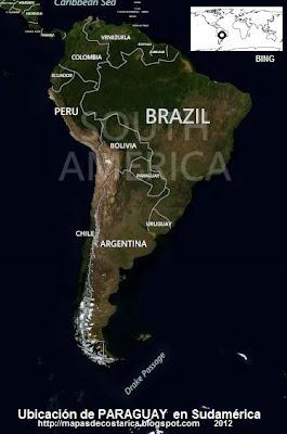 Ubicación de PARAGUAY en Sudamérica, vista aérea, BING