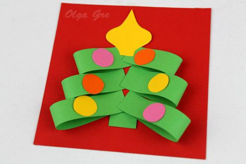 Открытка елка из бумаги своими руками