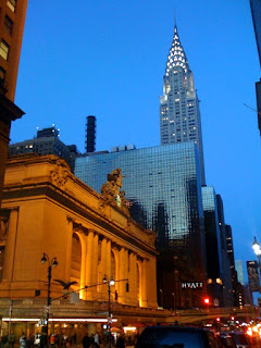 Grand Central Station and Chrysler Building in the evening, New York City, photography by A.E. Graves