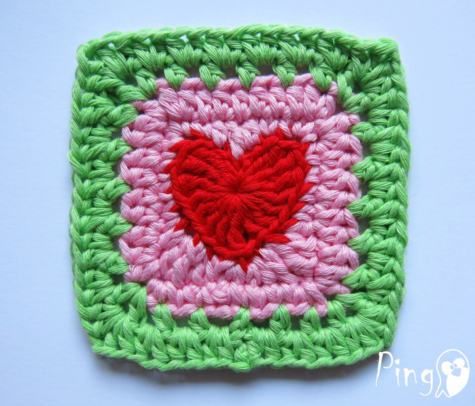 Pingo the pink penguin crochet heart square heart square free crochet pattern by pingo the pink penguin bankloansurffo Image collections