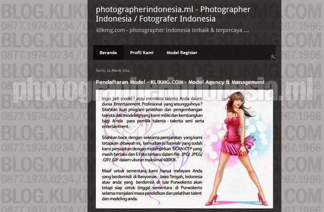PHOTOGRAPHERINDONESIA.ML - Situs web beranda muka KLIKMG.COM Sebagai Photographer Indonesia :)   Situs web ini sengaja dibuat sebagai Halaman Depan sebagai sarana promo online KLIKMG.COM Sebagai Photographer Indonesia untuk bisa lebih dikenal oleh situs web mesin pencari.