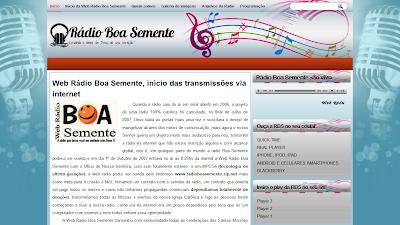 Nova página da Radio Boa Semente