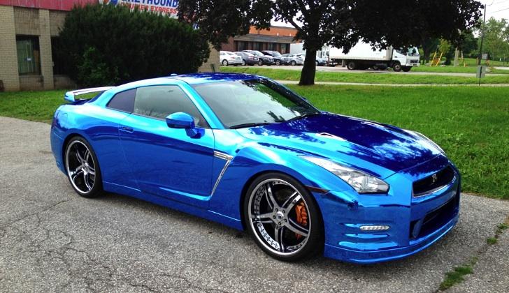 Chrome Blue Nissan Gt R