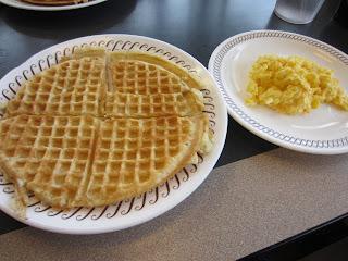 waffle, eggs