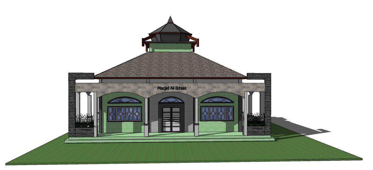 tampak depan masjid aliklas. masjid yang didesign minimalis, dengan ...