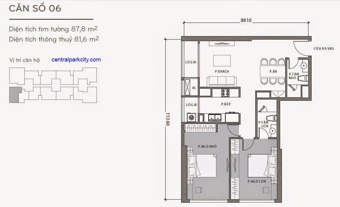 Căn hộ Landmark 1 - kiểu nhà số 06 - 87.8m2 - 2PN