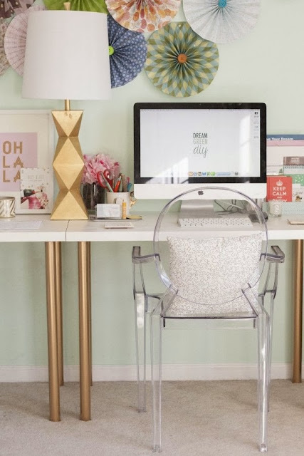 vignette styling console table gold accessories acrylic ghost chair