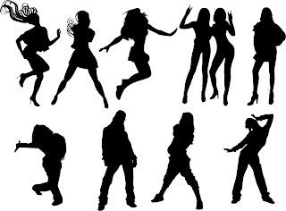 動きのある女性のシルエット dynamic figures woman silhouette イラスト素材2