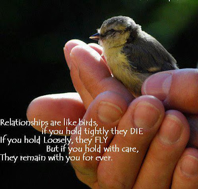 Relationships are like birds, If you hold tightly they DIE  If you hold loosely, they fly  But if you hold with care, they remain with you forever.
