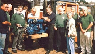 Committee members view the newLister engine provided by Marine Engine Services Ltd (Lister Petter).