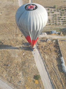 """A """"Hot-Air Balloon"""" that has landed as observed from our Balloon high up in the sky."""
