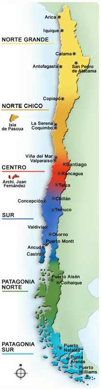 mapa de chile por zonas