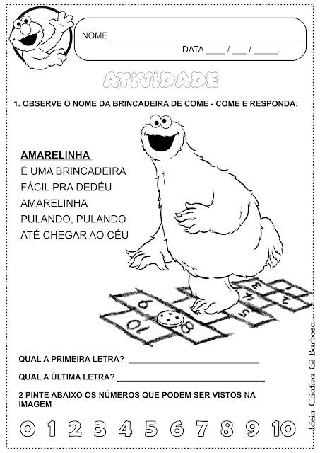 Atividade Interdisciplinar Brincadeiras Antigas Amarelinha Vila Sésamo