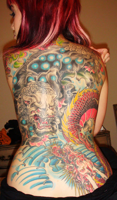 Tatuagem Foo Dog Fu Dog Tattoo Foo Dog Fu Dog - Tattoo Oriental Costas Back Girl Woman