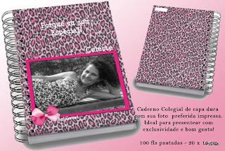 Caderno com a capa e contra-capa personalizadas