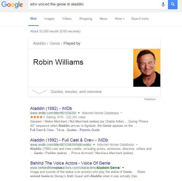 A snippet of Google Search results, featuring Robin Williams.