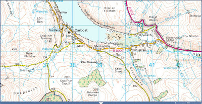 Ordnance Survey map of the vicinity of Drynoch, showing Dun Merkadale