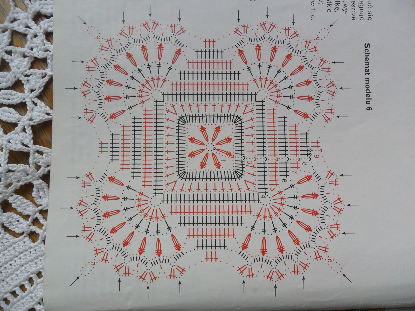 Схема вязания квадратов для скатерти