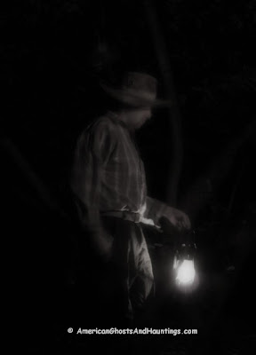 A depiction of how the phantom of Slaughterhouse Gulch may appear if he is encountered in the mountains near Battle Lake, Wyoming. Ghost of Slaughterhouse Gulch
