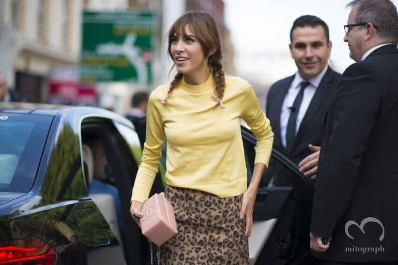 Alexa Chung at Topshop Unique show during London Fashion Week 2015 Spring Summer LFW
