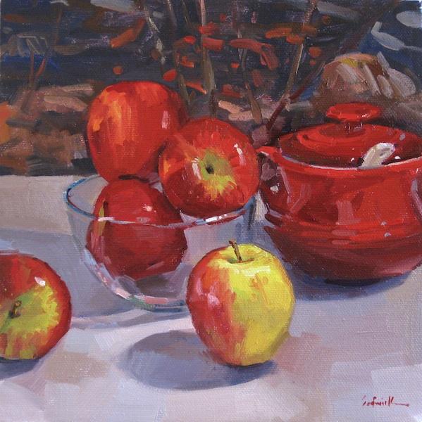 "Sedwick Studio Purple Bowl Of Plums Fruit Bowl Still: Sedwick Studio: ""Apple Season"" Still Life Daily Painting"