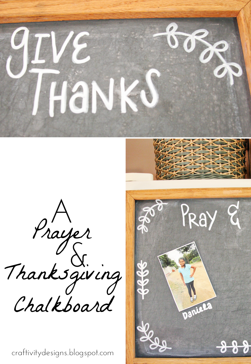 Remember to pray for your friends and family -- and to be thankful for God's blessings -- with a prayer board like this chalkboard project. We hang our prayer board in the kitchen so that we see it on a daily basis.