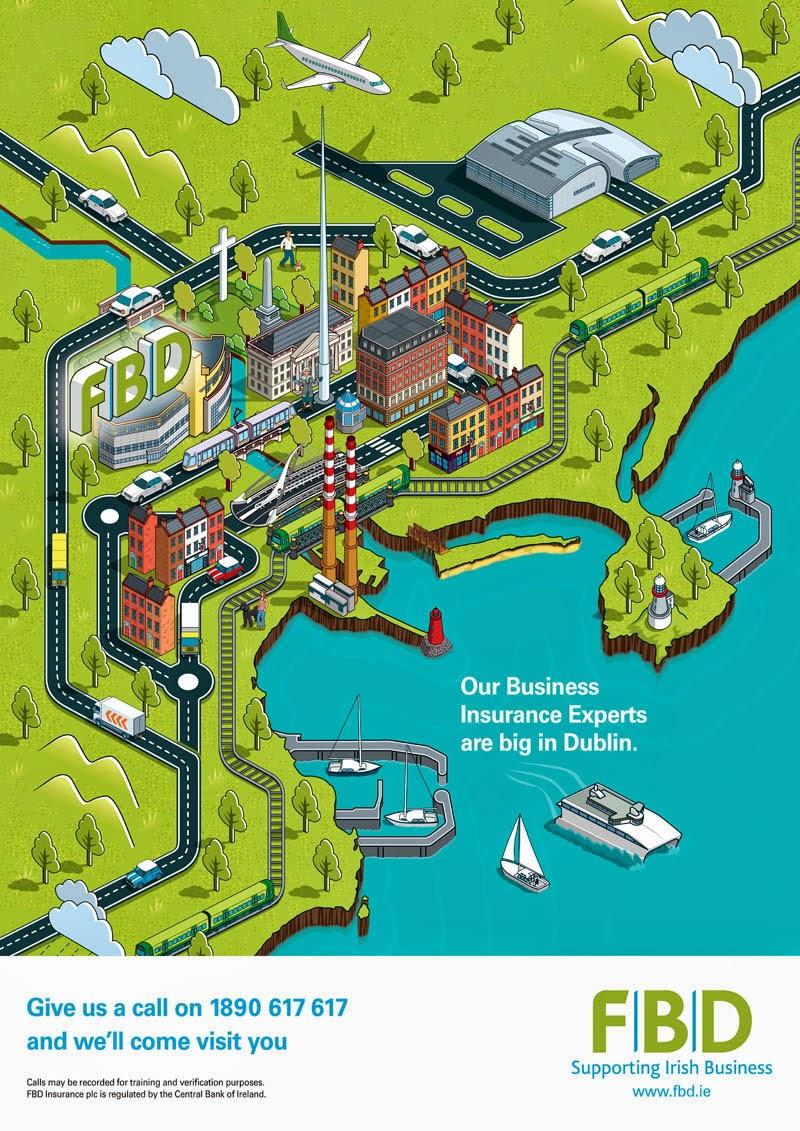 fbd insurance dublin map advertising campaign illustration