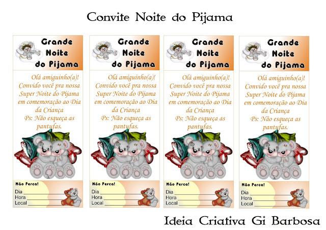 Convite Marca Página para Noite do Pijama Com Ursinhos