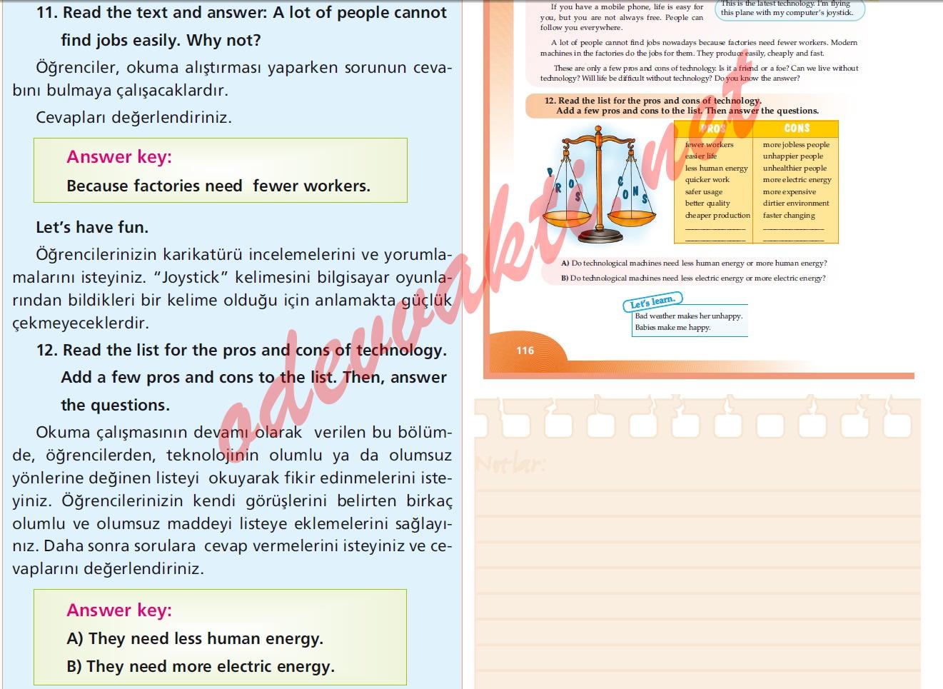 Sınıf ingilizce ders kitabı sayfa 116 nın cevapları