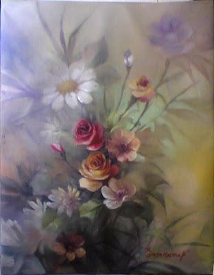 lukisan,lukisan bunga,lukisan rangkaian bunga,lukisan bunga ros,lukisan bunga aster,lukisan bunga rumput