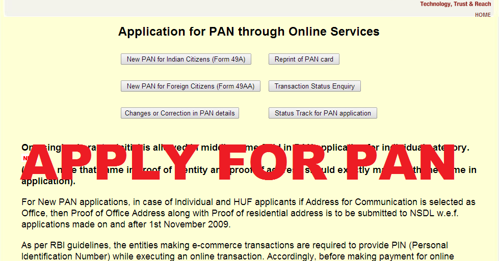 Apply Pan Card Online Pan Card Application Form Online