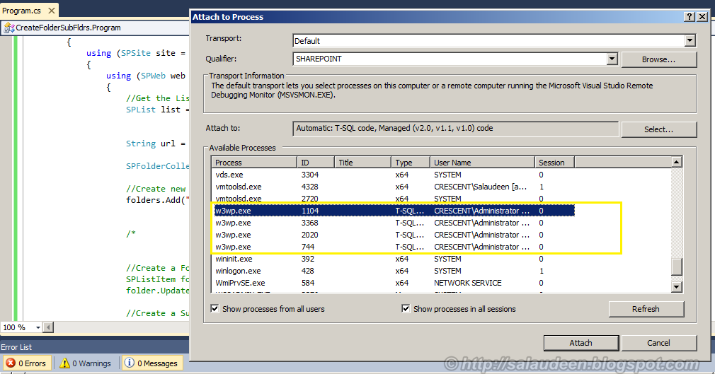 attach w3wp process visual studio 2010