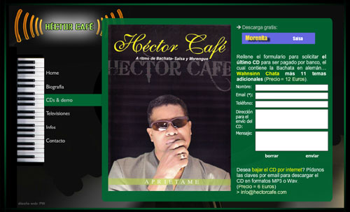 web oficial de Héctor Café: músico y cantante procedente de la República Dominicana