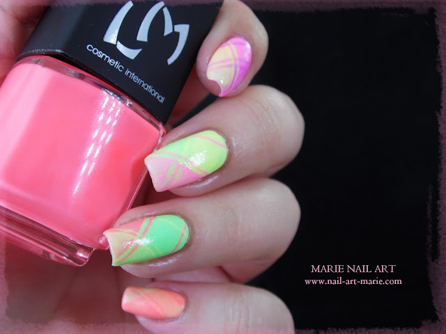 Nail Art Ecossais Pastel Fluo6