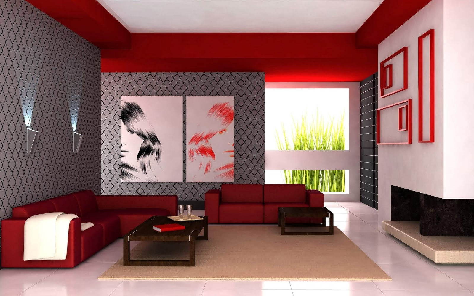 Red Color Ideas For Minimalist Living Room Design