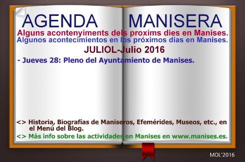 AGENDA MANISERA, SEMANA 30 DE 2016