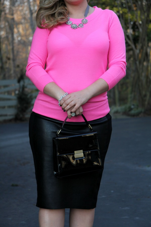 Pencil Skirt from Anthropology, Pink Neon Sweater from J Crew, Bag from Forever 21, Bracelet from TJ Maxx, Necklace from Carolee Jewelry