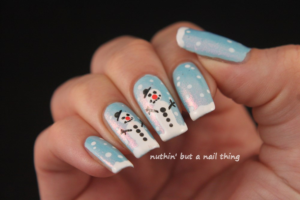 nuthin\' but a nail thing: Snowman nail art tutorial