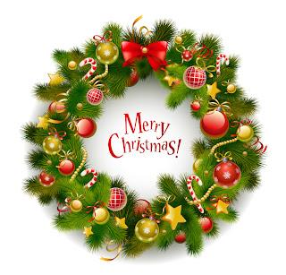 クリスマス・リースと家族 beautiful christmas wreath vector イラスト素材1