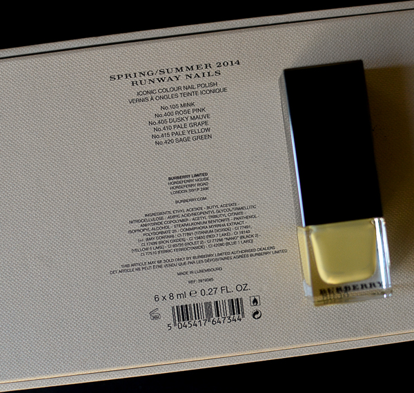Burberry Nail Polish No 415 Pale Yellow Swatches NOTD Review Photos Ingredients