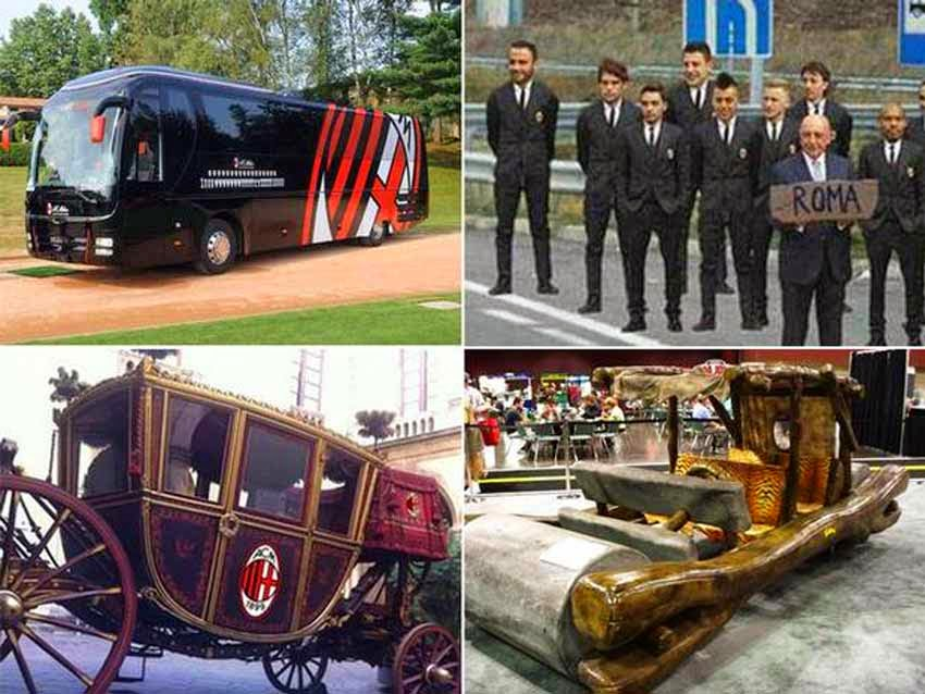 Collage featuring the customised bus, the team photoshopped to hitch hike,a Royal carriage and Flintstones car.