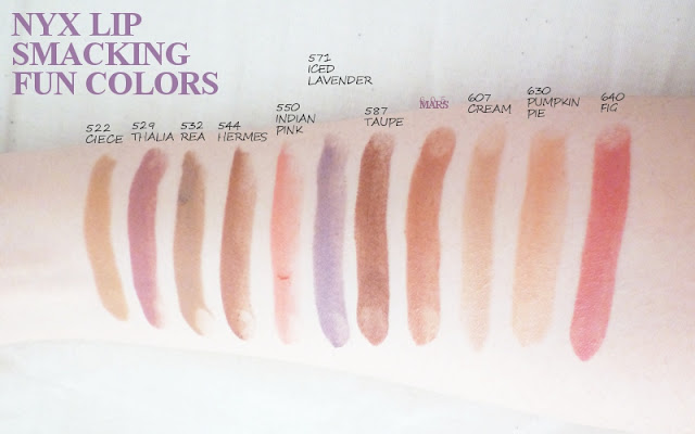 NYX Round Lipstick Swatches : Ciece, Thalia, Rea, Hermes, Indian Pink, Iced Lavender, Taupe, Mars, Cream, Pumpkin Pie, Fig