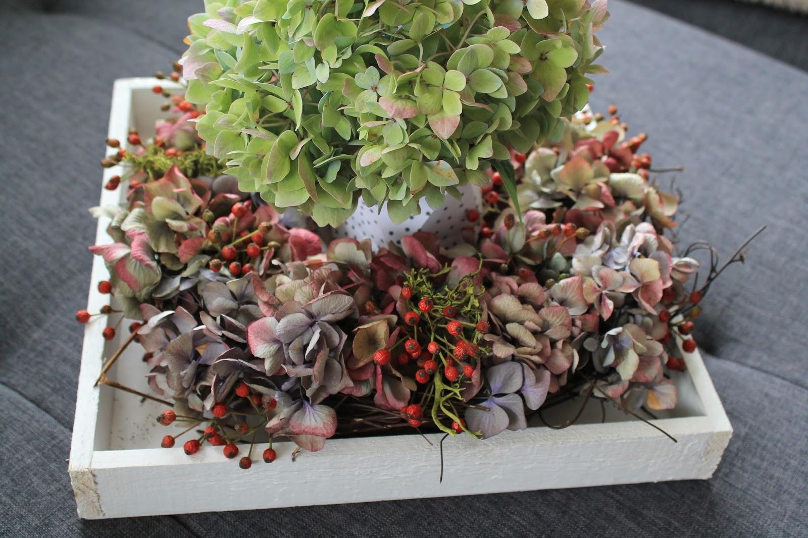 kleines freudenhaus diy herbstkranz aus hortensien. Black Bedroom Furniture Sets. Home Design Ideas
