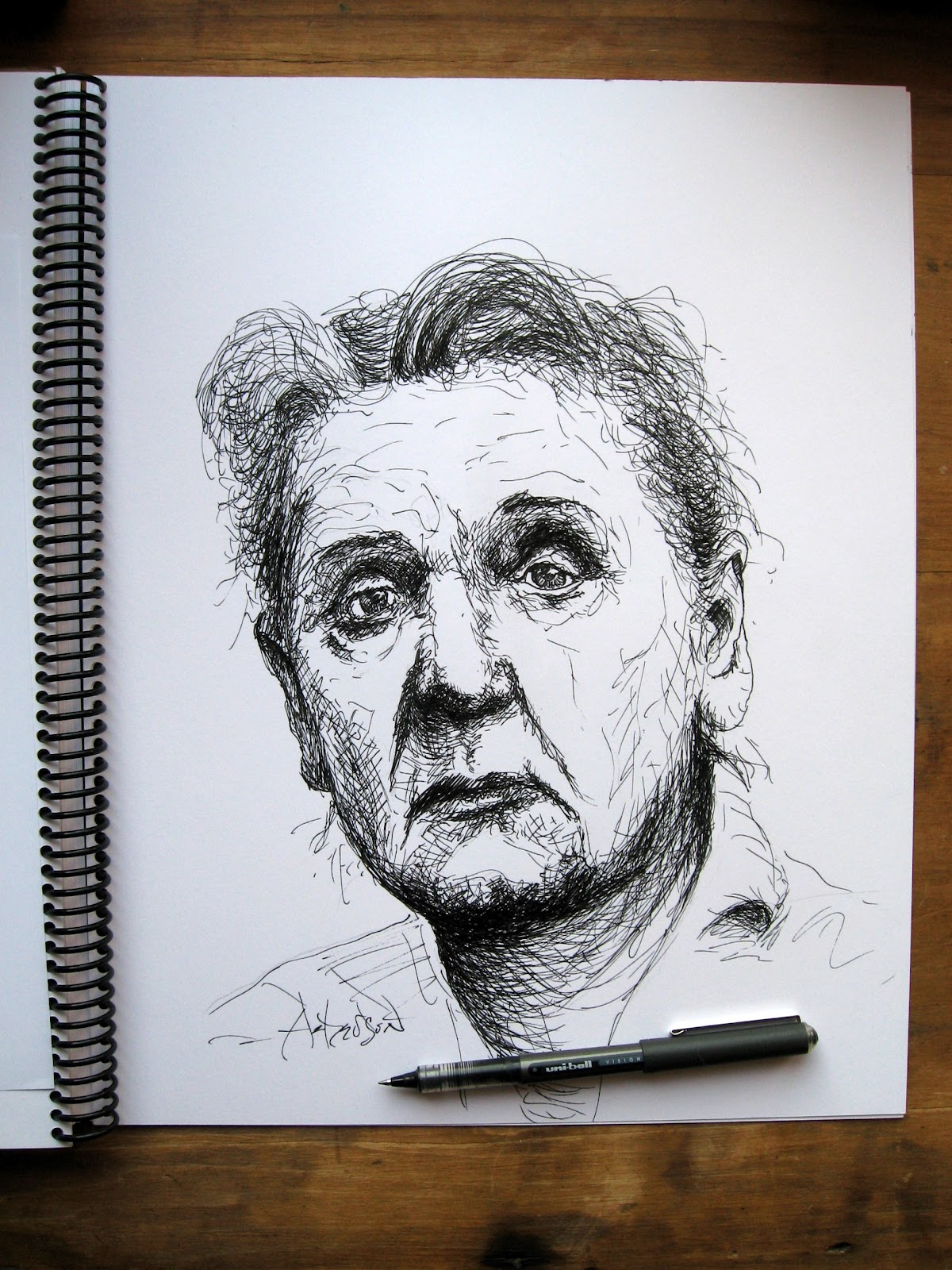 john ackerson art : jane addams - portrait pen drawing and sketch