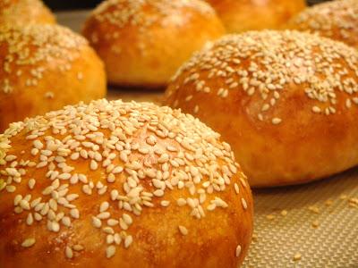 Homemade sesame seed burger buns