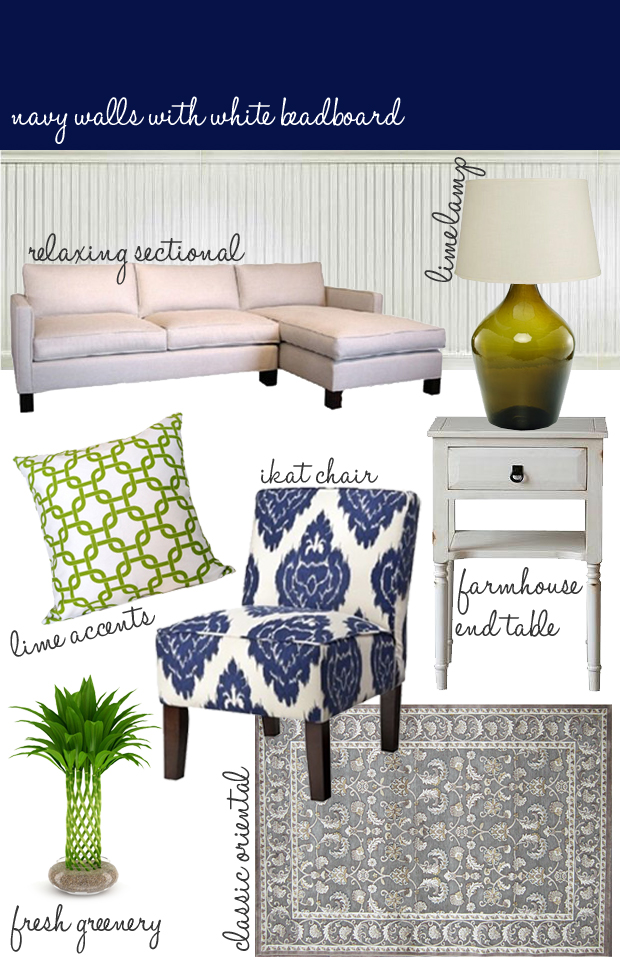 navy and lime living room