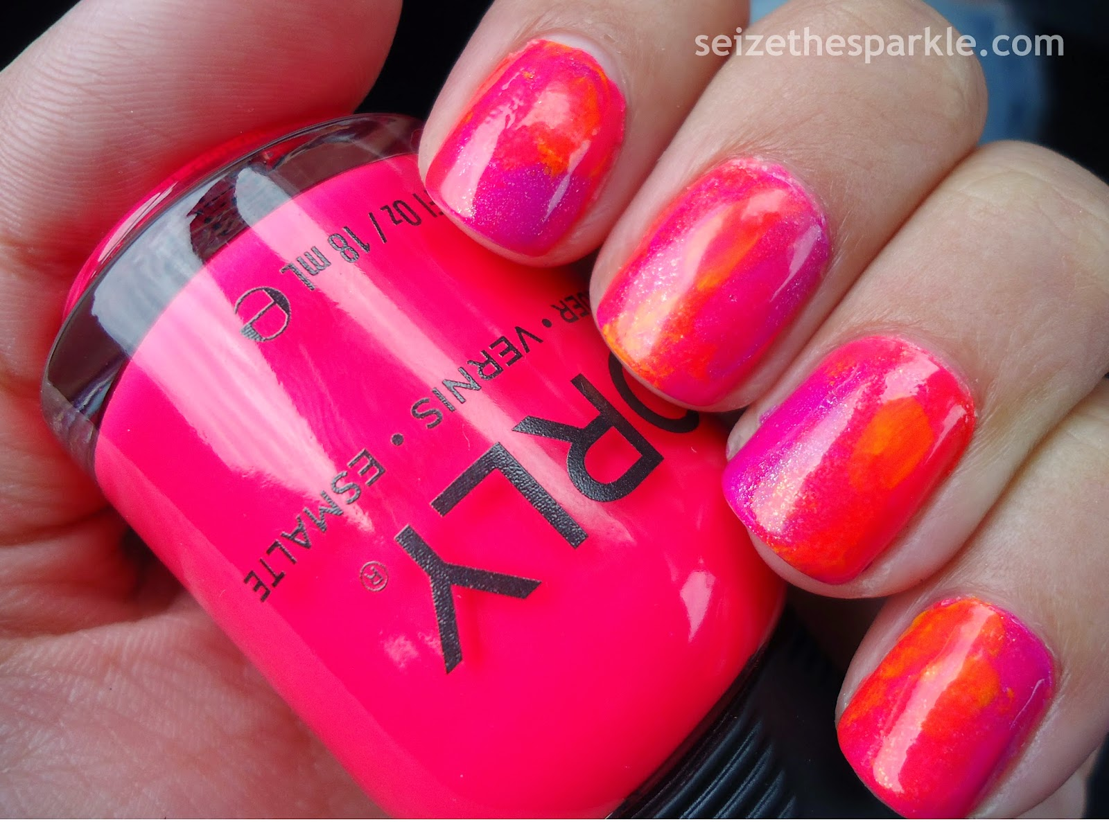 Neon Watercolor Manicure