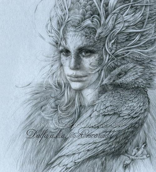 12-Silver-Feathers-Olga-Anwaraidd-Drawings-Fantasy-Portraits-Imaginary-Characters-www-designstack-co